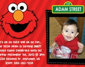 Custom Elmo inspired Birthday Party Invitation OR Thank You Card 1. 2, or 3 picture Sesame Street first second third fourth