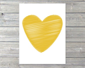 Heart  Art Print - Mustard Yellow Heart - Love Poster - Wall Art Modern Home Decor
