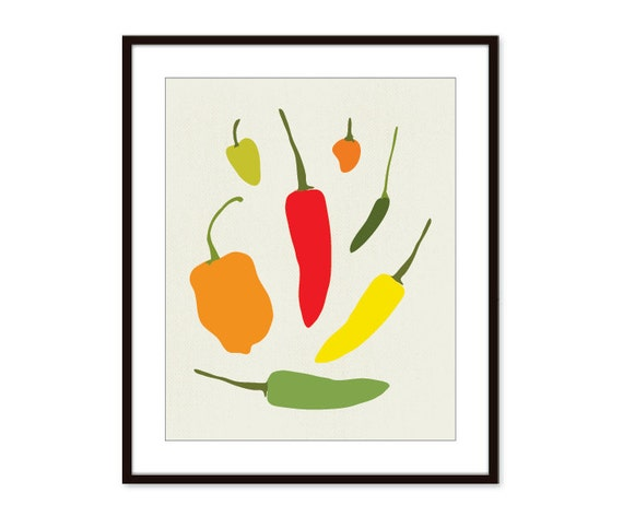 Hot Peppers Print - Chiles Print - Kitchen Art Print - Mexican Hot Peppers - Red Green Yellow - Home Decor - Red Green Yellow Orange Pepper