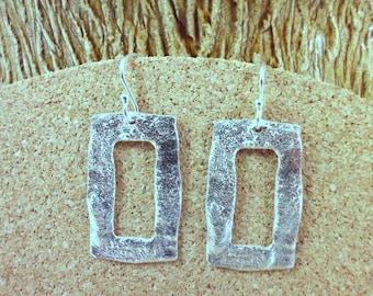 Reticulated Open Rectangle  Sterling Silver  Earrings - ElenadE