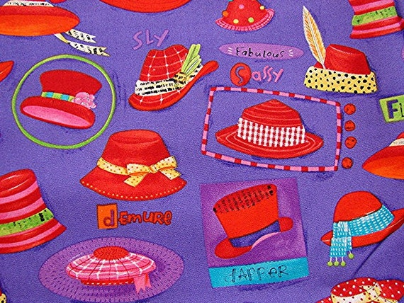 Red Hat Society Fabric Novelty Print Fabric Purple Red Vintage Sewing Fabric