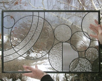 """Circle Study Arts and Crafts Style--16.25"""" x 25.5""""--Stained Glass Window Panel"""