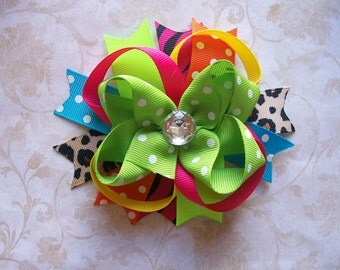 Classic Boutique Style Bow---Funky Cheetah Rockstar----Lime, Cheetah, Hot Pink, Orange, Turquoise