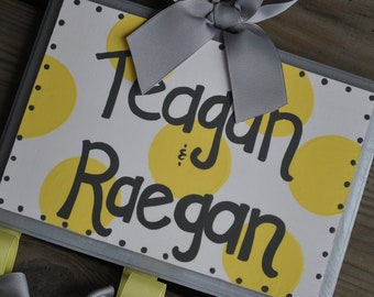 Bow Holder --- SIMPLICITY Design - Handpainted and Personalized HairBow Holder - Grey and Yellow Bow Holder - Grey and yellow nursery