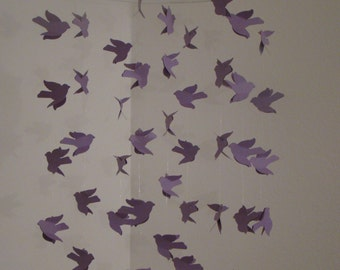 Purple Flying Light and Flowing Bird Baby Mobile