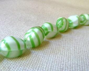 Vintage Green Striped White Glass Beads  - 14x11mm - Qty 2 pcs