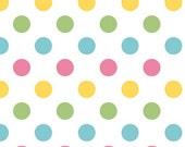Pink Yellow Green and Aqua Girl Medium Polka Dot Cotton For Riley Blake, 1 Yard
