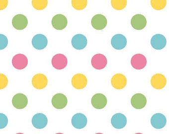 Pink Yellow Green and Aqua Girl Medium Polka Dot Cotton For Riley Blake, 1 Yard