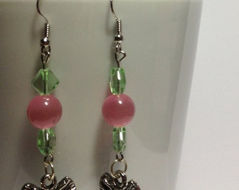 Pink and Green Elephant Earrings