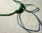 Green and blue braided vine thread rope necklace