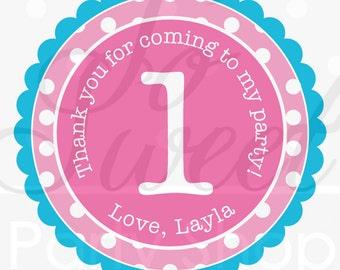 1st Birthday Stickers, Thank You Sticker, Birthday Favors, Girls Birthday Decor - Pink, Teal, Lime Green, Purple Polkadots - Set of 24