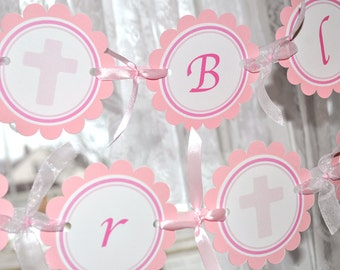 Baptism Banner Girl, First Holy Communion Banner, Baby Christening, 1st Communion and Baptism Party Decorations, God Bless Banner