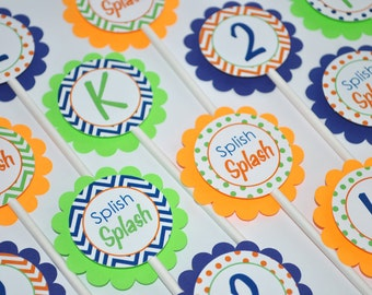 Boys Birthday Cupcake Toppers, 1st Birthday Party - Chevron Birthday Decorations with Polkadots - Navy Blue, Orange and Green - Set of 12