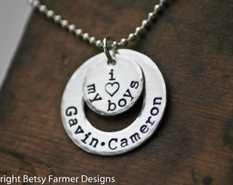 I Love My Boys - Hand Stamped Jewelry - Mommy Necklace - I heart my boys - Sterling Silver - Mom of Boys - Personalized Customized