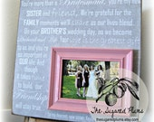 Bridesmaid Gift, Best Friend, Sister, Maid of Honor, Wedding Picture Frame16x16 SHE Is YOUR MIRROR Wedding Gift The Sugared Plums