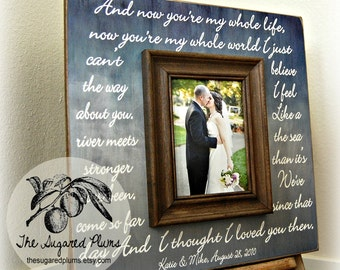 Wedding Sign ANNIVERSARY gift, Wedding VOWS, Initials, Bride and Groom First Dance, Lyric 16x16 Picture Frame