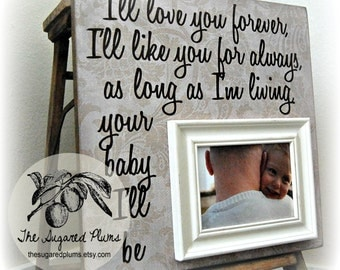 fathers day gift picture frame 16x16 ill love you forever first birthday grandparents grandpa grandma godparents gift