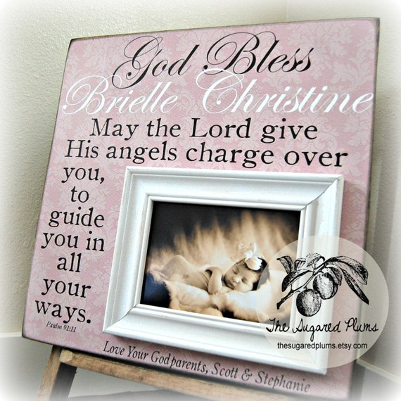 Baptism gifts for godchild godchild frame gift by thesugaredplums - Gifts for baby christening ideas ...