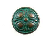 Wholesale - Clover Metal Buttons - Set 100 Cutie Retro Deep Cyan Clover Buttons, 0.59 inch.