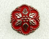 Wholesale - Metal Buttons - Lot 50 Retro Red Painting Peperomia Leafs Gunemtal Patel Edge Buttons. 0.67 inch