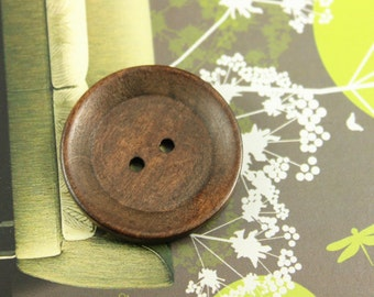 Wooden Buttons - Minimalist Two Holes Brown Wooden Buttons, 1.18 inch (10 in a set)