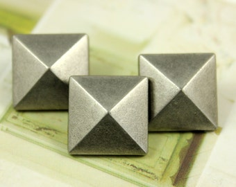 Metal Buttons - Square Flat Cone Metal Buttons , Nickel Silver Color , Shank , 0.35 inch , 10 pcs