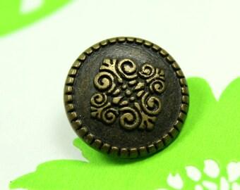 Metal Buttons - Motif Texture Metal Buttons , Antique Brass Color , Shank , 0.59 inch , 10 pcs