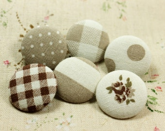 Elegant Khaki Theme Polka Dots Lattice and Flower Mix and Match Style Fabric Buttons,1.18 inch.  (6 in a set)