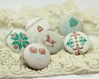 Fairy tale Elements Mix and Match Shabby Chic Style Fabric Buttons,1 inch.  (6 in a set)