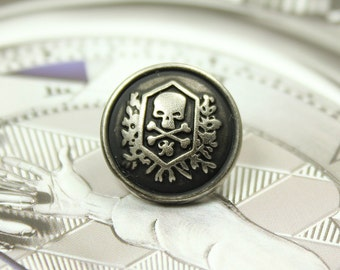 Metal Buttons - Skull Emblem Metal Buttons , Retro Silver Color , Shank , 0.59 inch , 10 pcs