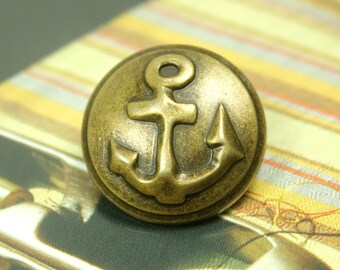 Metal Buttons - Anchor Metal Buttons , Antique Brass Color , Shank , 0.71 inch , 10 pcs