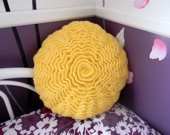 Crochet round pillow, ruffle rose pillow in yellow color READY to SHIP!
