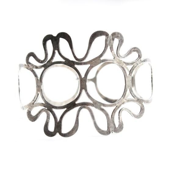 SALE - Vintage Silver Plated Cuff Bracelet - Chunky Modernist Open Metal Work Statement Jewelry / Big Filigree