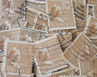 First Lady 50 Vintage 1930s 1 1/2 cent Martha Washington US Postage Stamps Almond Brown Cappucino Natural Feminism Scott 805 Philately