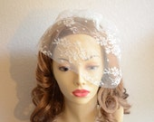 READY TO SHIP, Lace Birdcage veil, Petite Lace Veil, Ivory lace Veil,Vintage Veil,Lace veil, Mini ivory lace veil, bridal veil, Style VB016