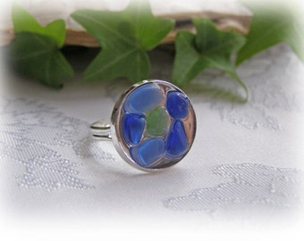 Beach Glass Resin Adjustable Ring Cobalt Blue and Lime Green
