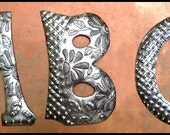 "1 Metal Letter - 5"" -  Address - Haitian Recycled Steel Drum - Haitian Metal Art Initial - Outdoor Metal Art - Metal Wall Decor -  ADL-500-5"
