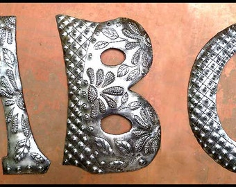"1 Metal Letter - 5"" -  - Haitian Recycled Steel Drum - Haitian Metal Art Initial - Outdoor Metal Art Letters - Metal Wall Decor -  ADL-500-5"