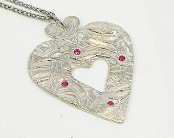 Silver Heart Necklace Pendant Three Hearts Eco Friendly