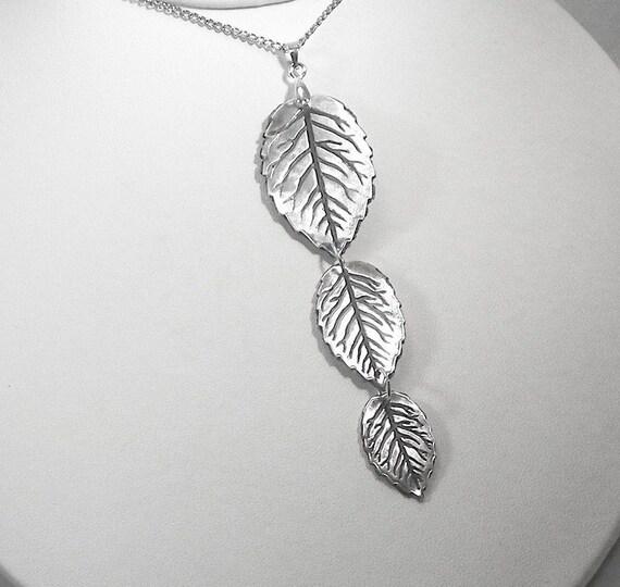 Silver Leaves, Silver Leaf Pendant, Three Leaf Pendant, Silver Leaf Necklace, Leaf Pendant