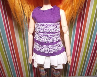 Purple with white lace tank top for pullip