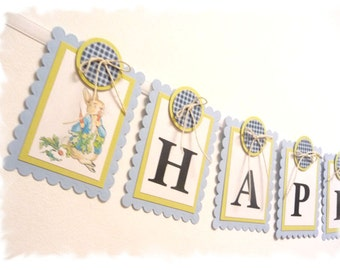 PETER RABBIT Happy 1st Birthday Banner - Baby Blue and Spring Moss Green - A la carte Peter Rabbit party items- KIT Style Option