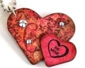 Valentine Keychain Double Hearts Key Chain Pink Decoupaged Swarovski Crystal Decorated Heart Keychain Valentine Gift For Her Gift Under 10