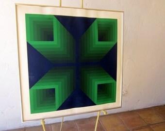 J Jurgen Peters op art print signed numbered limited edition blue green Art 1972 MOD POP ART