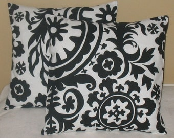 NEW Two 18 x 18  Suzani Black  Pillow Covers Stunning