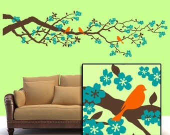 84 inch Cherry Blossoms Vinyl Wall Decal: Large Wall Decal Tree Branch Decal with Flowers and Bird Decals, Spring Decor (0172c19v)