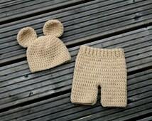 Little Bear Hat Shorts Set,Teddy Bear Set,Newborn Baby Bear Hat and Pants Set,Crochet Shorties Pants, Photography Prop. RTS.Newborn size