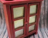 Miniature Pie Safe Primitive Dollhouse Tin Punch Doors Red Cherry Heart Pie Wooden Piggin Firkin Bucket Barrel Mini Set Lot Valentines