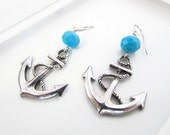 Large anchor dangle earrings - Silver Ox Patina and blue faceted coral bead