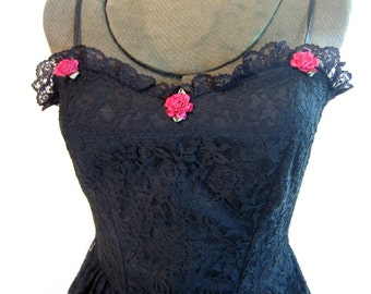 vintage LBD Black lace Sweetheart neckline slip dress Red Roses S